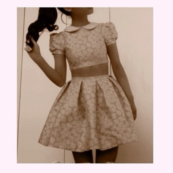 dress pink dress pink floral pink flowers crop tops skirt skater skirt skater dress ariana grande