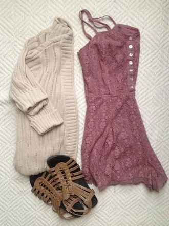 shoes sandals strapy sandals dusty pink cardigan date outfit dress lace dress summer dress sweater helpcardigan back to school summa blouse jumpsuit lace romper romper fall outfits lace pinkish red button up spagetti straps beige outfit