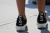 shoes,life,dope,sick,nice,black shoes,sun,orange,positive,love life,orange shoes,sneakers