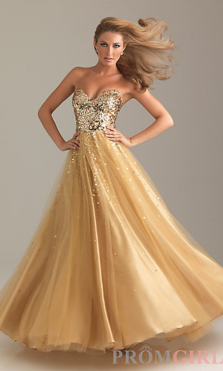 Sequin Ball Gown, Night Moves Prom Dress - PromGirl