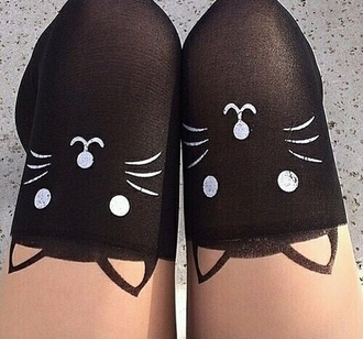 socks knee high socks cats grunge kawaii kawaii grunge