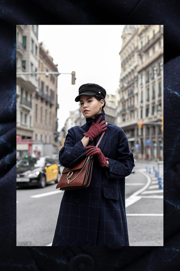fake leather blogger coat hat shoes bag jewels gloves fisherman cap brown bag blue coat winter outfits