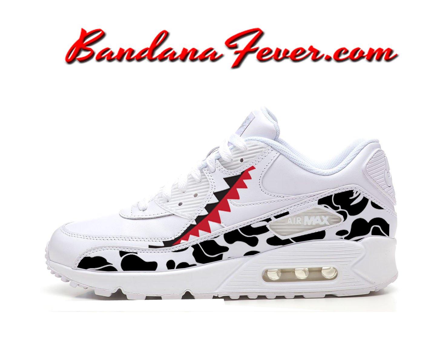 af09bd167834f Custom Bape Camo Shark Nike Air Max 90 Shoes Ultra White, #bape, #camo,  #love, by Bandana Fever