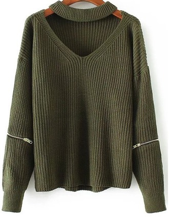sweater girl girly girly wishlist knit knitwear knitted sweater khaki olive green zip
