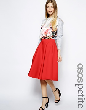 Petite | ASOS PETITE Full Midi Skirt In Scuba With Pockets at ASOS