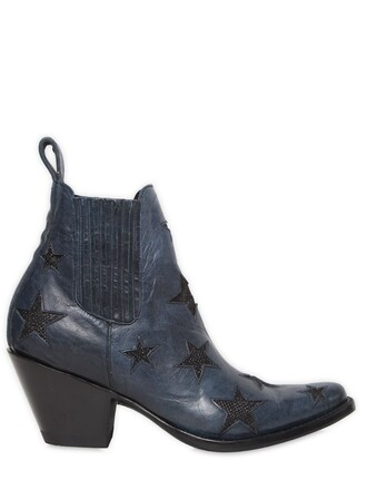 leather ankle boots boots ankle boots leather stars navy shoes
