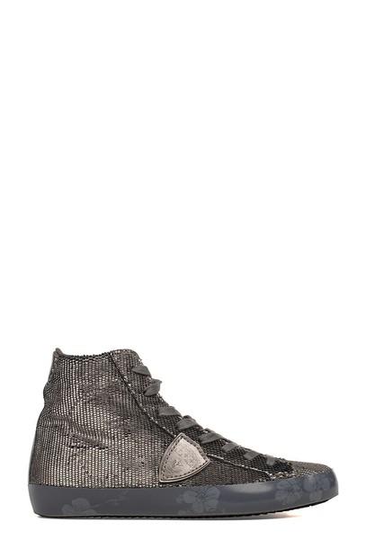 Philippe Model glitter paris high sneakers silver velvet shoes