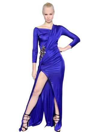 dress jersey dress embellished purple