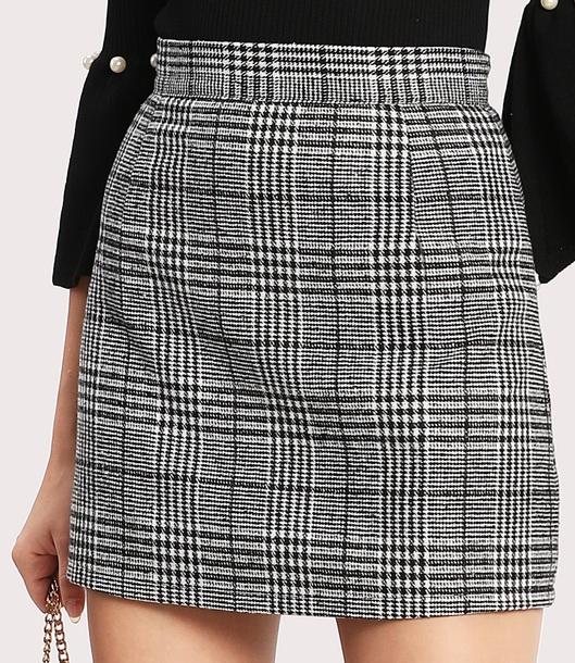 skirt girly black plaid plaid skirt