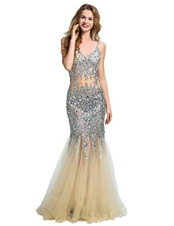 Amazon.com: Clearbridal Women's Mermaid Backless Prom Dress Evening Gown With Straps CLX075: Clothing
