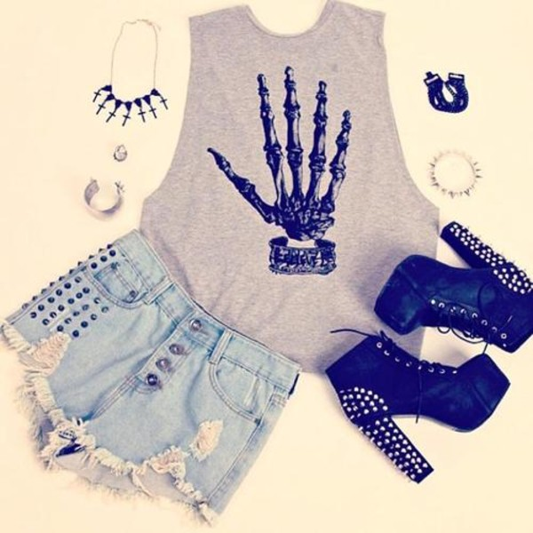 shorts shirt shoes hand grey grey t-shirt black hand grey and black tank top skeleton cute t-shirt rock bones grunge punk clothes top studs grey top underwear