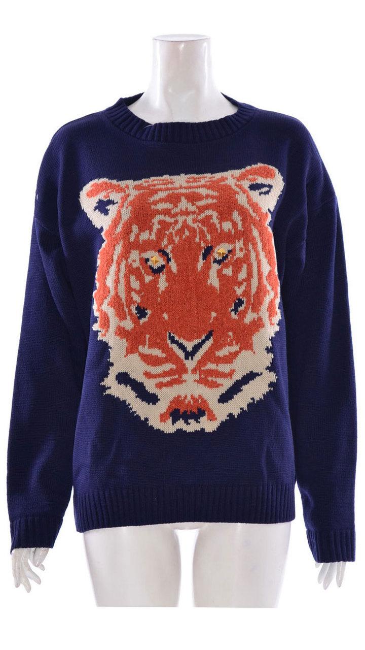 Ladies Long Sleeve Tiger Print Knitted Jumper In Navy