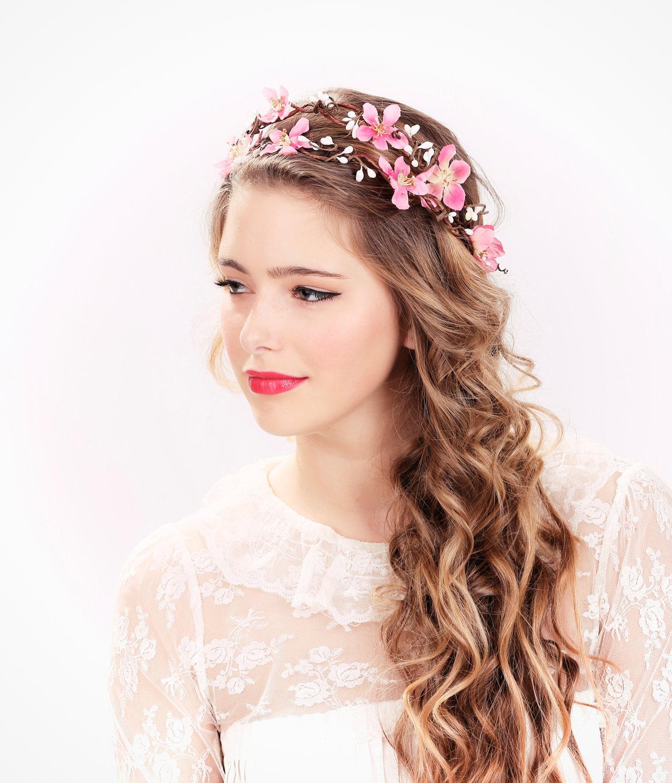 Rosa, corona di fiori copricapo da sposa, corona di fiori, cerchietto da sposa, cerchietto da sposa, copricapo da sposa, accessori sposa