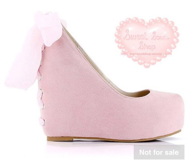shoes pastel pink bows wedges cute