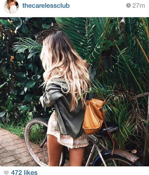 jacket instagram hipster tropical green dress ombre cute