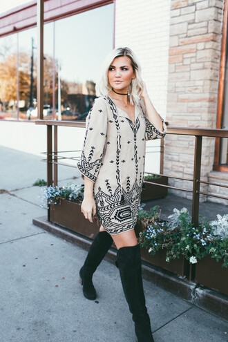 wild one forever - fashion & style by kristin blogger dress shoes jewels over the knee boots black boots mini dress
