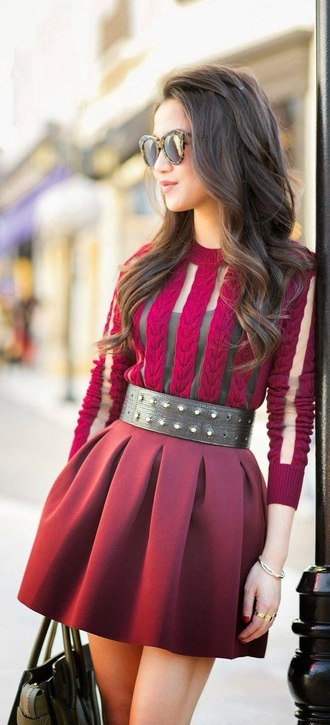 dress sexy sexy party dresses sexy dress beautiful red dress red red prom dress transparent blouse sweater jumper see through fall outfits cute burgundy sweater red skirt skirt studded belt burgundy skirt burgundy top belt velvet top chic and edgy casual medium-size belt