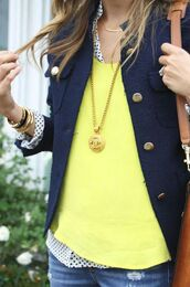jacket,shirt,necklace,jewels,blouse,neon yellow and polka dots
