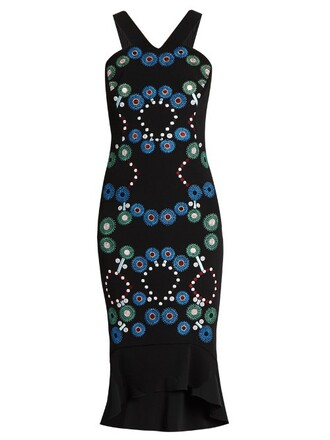 dress embroidered geometric black
