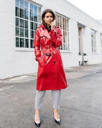 coat tumblr red coat vinyl pants grey pants pumps cropped pants