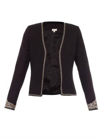 jacket embroidered silk black