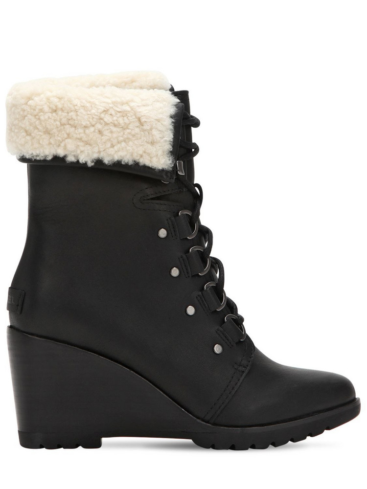 SOREL After Hours Shearling Lace-up Boots in black