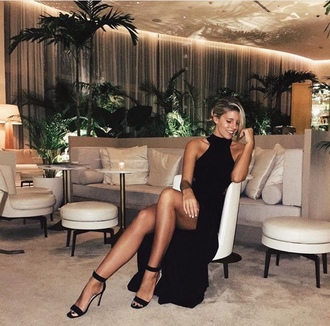 dress natasha oakley black dress maxi dress slit dress sexy dress black sexy dress sandals sandal heels black sandals black high heels all black everything