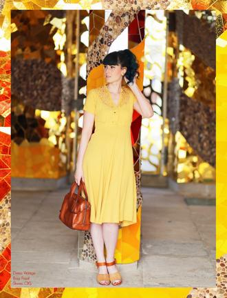 like a riot blogger yellow dress lemongrass brown leather bag