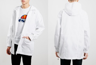jacket menswear white tumblr topman parka