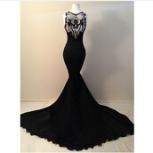 dress,long black dress,cute dress,floor length dress,sexy dress,black dress,prom dress,formal dress,gown,mermaid prom dress,black,lace,tight