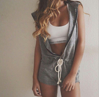 romper fs joggers gray cute tumblr blonde model gym clothes casual jumpsuit workout outfit
