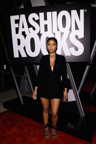 dress fashion week 2014 nicki minaj black little black dress high heels shoes