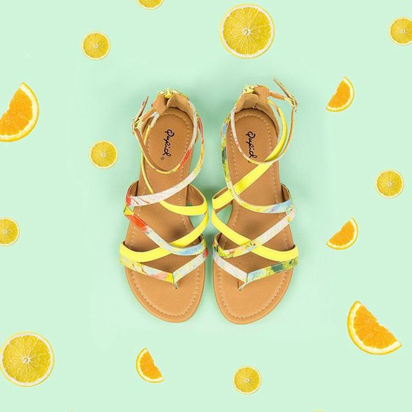 shoes strappy sandals lemon lime sandals summer style qupid