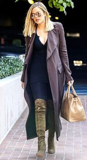 coat,top,boots,knee high boots,over the knee boots,khloe kardashian,jeans,fall outfits,shoes
