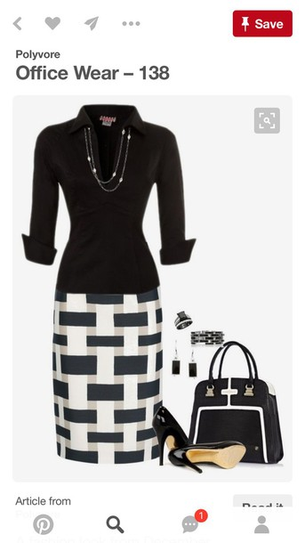 skirt pencil skirt midi skirt black and white skirt
