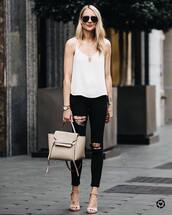 top,tumblr,white top,spaghetti strap,bag,nude bag,denim,jeans,black jeans,ripped jeans,sandals,sandal heels,high heel sandals,sunglasses,shoes