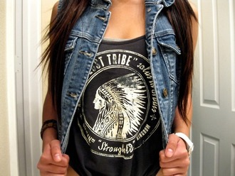 jacket denim vest denim jacket shirt american indian indian native american tank top denim vest black white tumblr summer outfits t-shirt