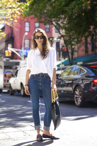 a portable package blogger jeans bag sunglasses shirt