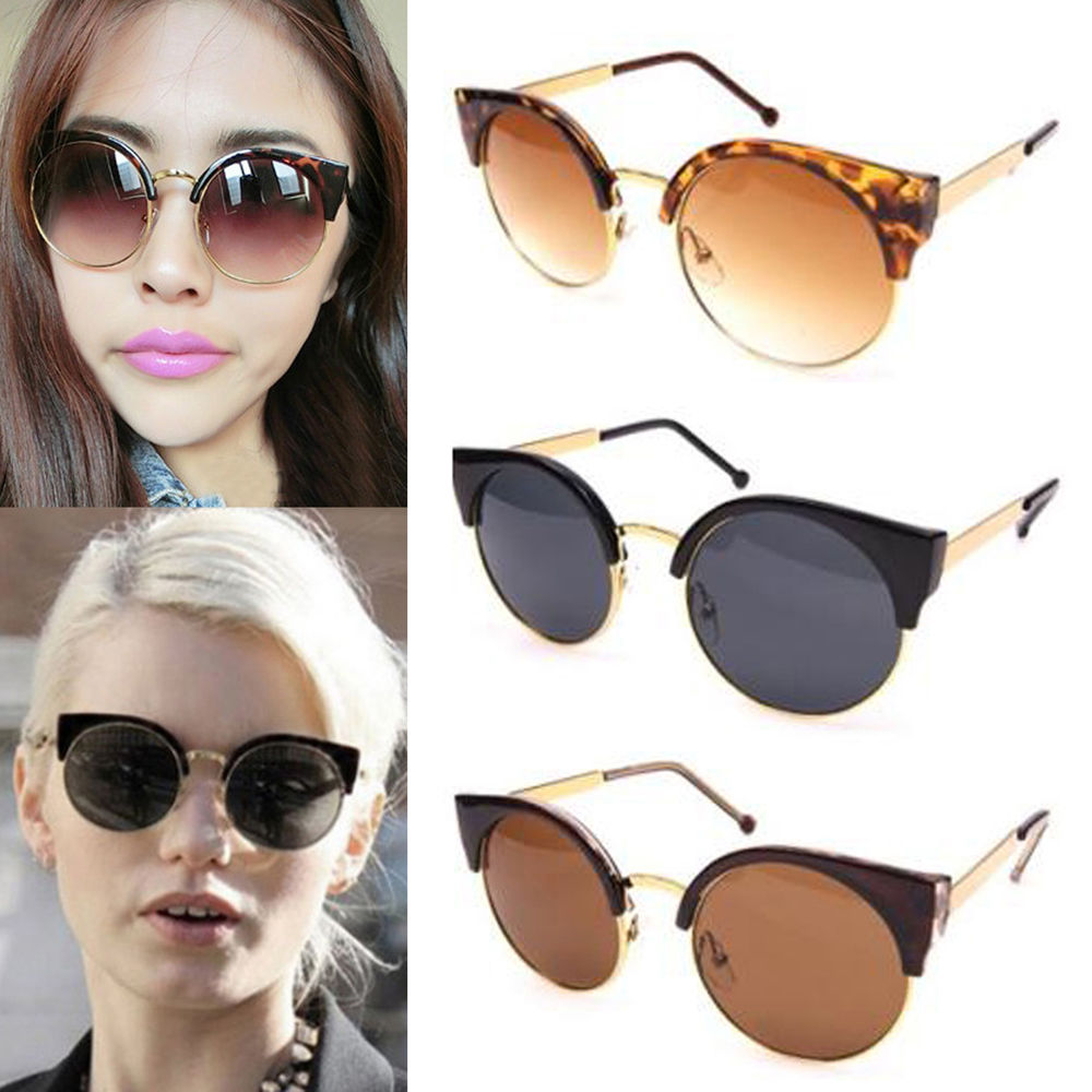 Stylish Unisex Retro Designer Super Round Circle Cat Eye Semi-Rimless Sunglasses | eBay