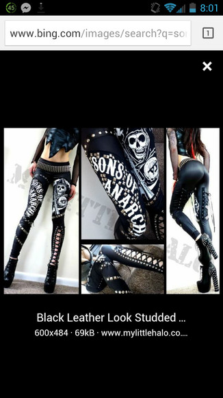 sons of anarchy leather leggings biker style pin up