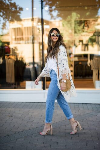 coat tumblr kimono t-shirt white t-shirt denim jeans blue jeans cuffed jeans sandals sandal heels high heel sandals bag round bag sunglasses top shoes