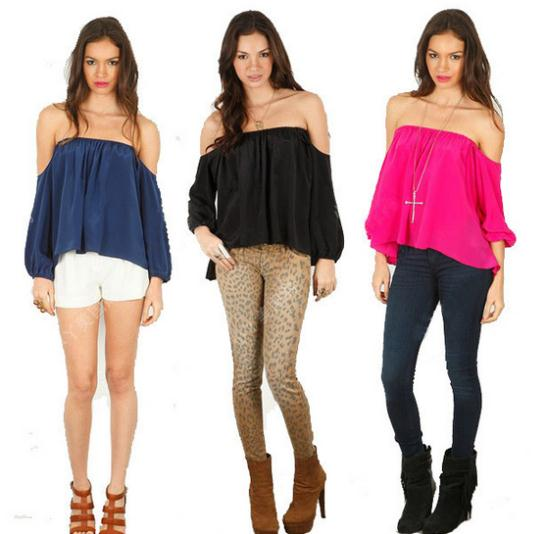 New 2014 Women Sexy Strapless Chiffon Slash Neck Off Shoulder Tops,Ladies Candy Colors Summer Long Sleeve Blouses Female Shirts-in Blouses & Shirts from Apparel & Accessories on Aliexpress.com | Alibaba Group