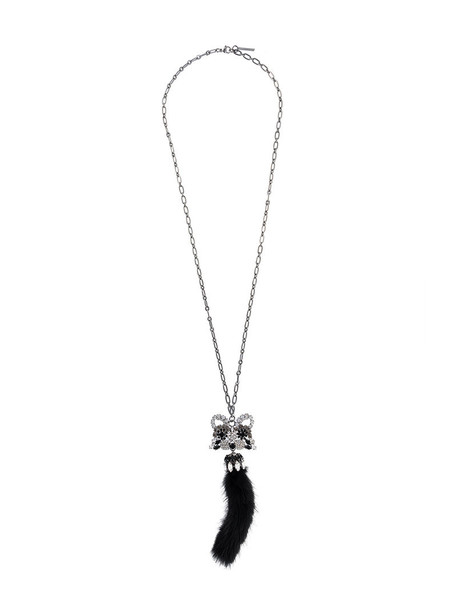Ermanno Scervino bow metal women necklace pendant cotton grey metallic jewels