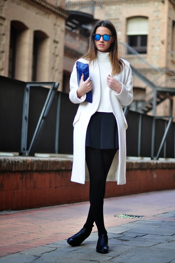fashion vibe shoes skirt coat sunglasses t-shirt bag jewels white coat white jacket jacket