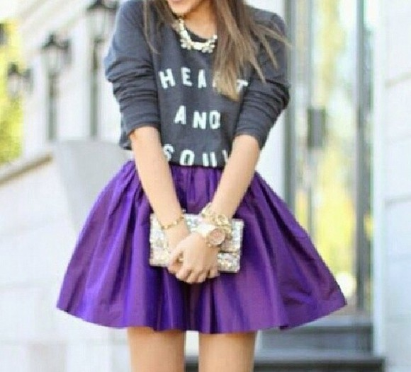 purple cute skirt purple skirt aww short skirt flare sweater heart soul quote on it w black , funny , quotes cute sweaters