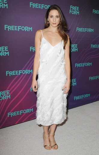 Troian bellisario white dress red shoes