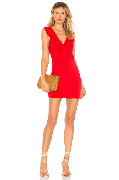 by the way. Flora Ruffle Mini Dress in red