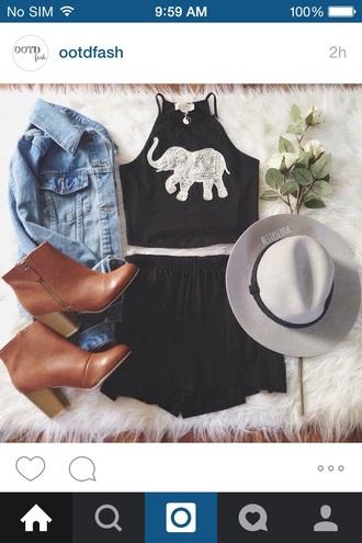 hat grey cute black summer top jewels