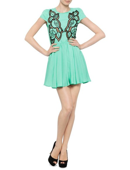 dress cut-out dress green dress pretty dress