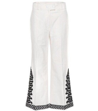 embroidered cotton white pants